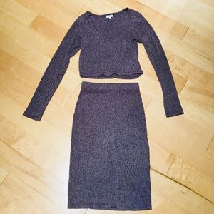 Aritzia Wilfred Free crop top and matching skirt